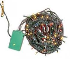 Instalatie cu 100 becuri albe - cablu verde 15ml