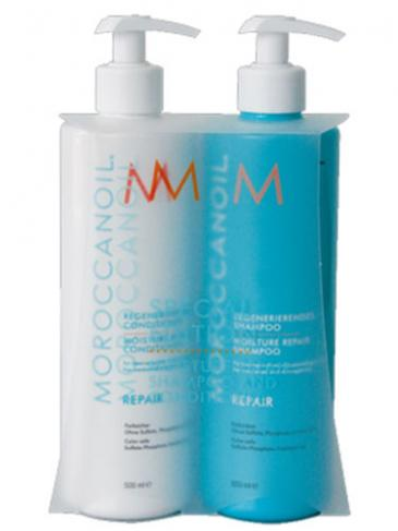 Kit Pentru Par Degradat Sampon Si Balsam Reparator Moisture Repair Moroccanoil 2x500 ml