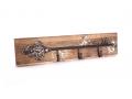 "Cuier lemn cheie metalica cu 3 agatatori ""Key""-model retro vintage"